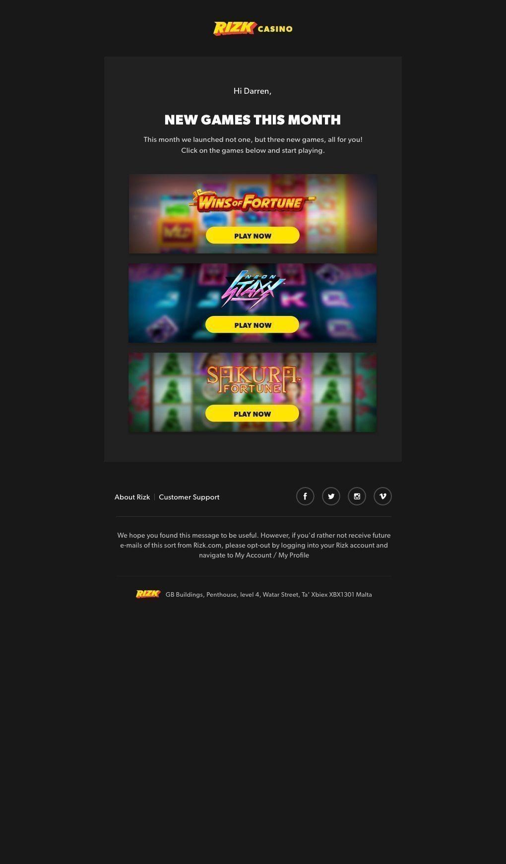 UX UI Newsletter design for Rizk Casino